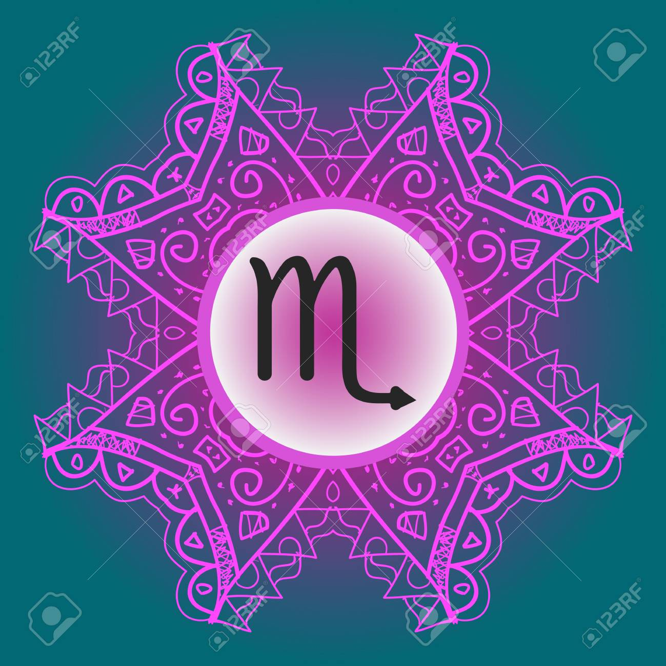 Vector - zodiac sign Scorpio - What is karma Vector circle with zodiac signs on ornate wallpaper. Oriental mandala motif square lase pattern, like snowflake ...