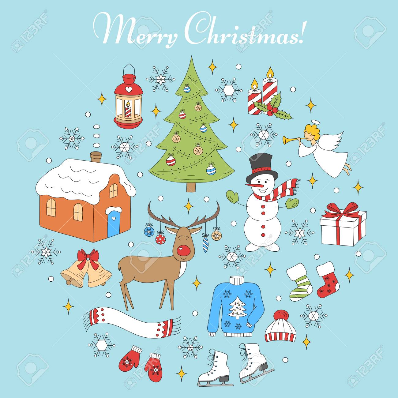 クリスマスと新年のホリデー アイコン セットはベクトル イラスト手描きクリスマス ツリートナカイ雪だるま雪の結晶天使キャンドル村の家鐘ランタン分離ソックス
