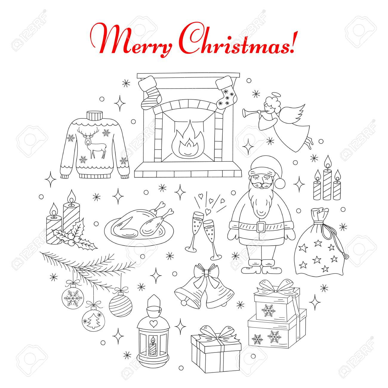 Christmas And New Year Holiday Line Icons Set Vector Illustrations Hand Drawn Fireplace