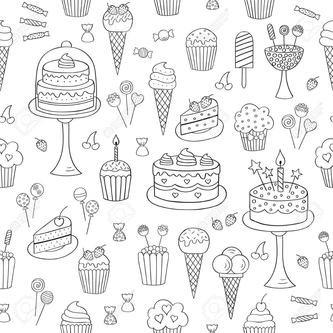 Sweets Hand Drawn Doodle Vector Seamless Background Dessert Illustrations Pastries Birthday Cake Cupcake