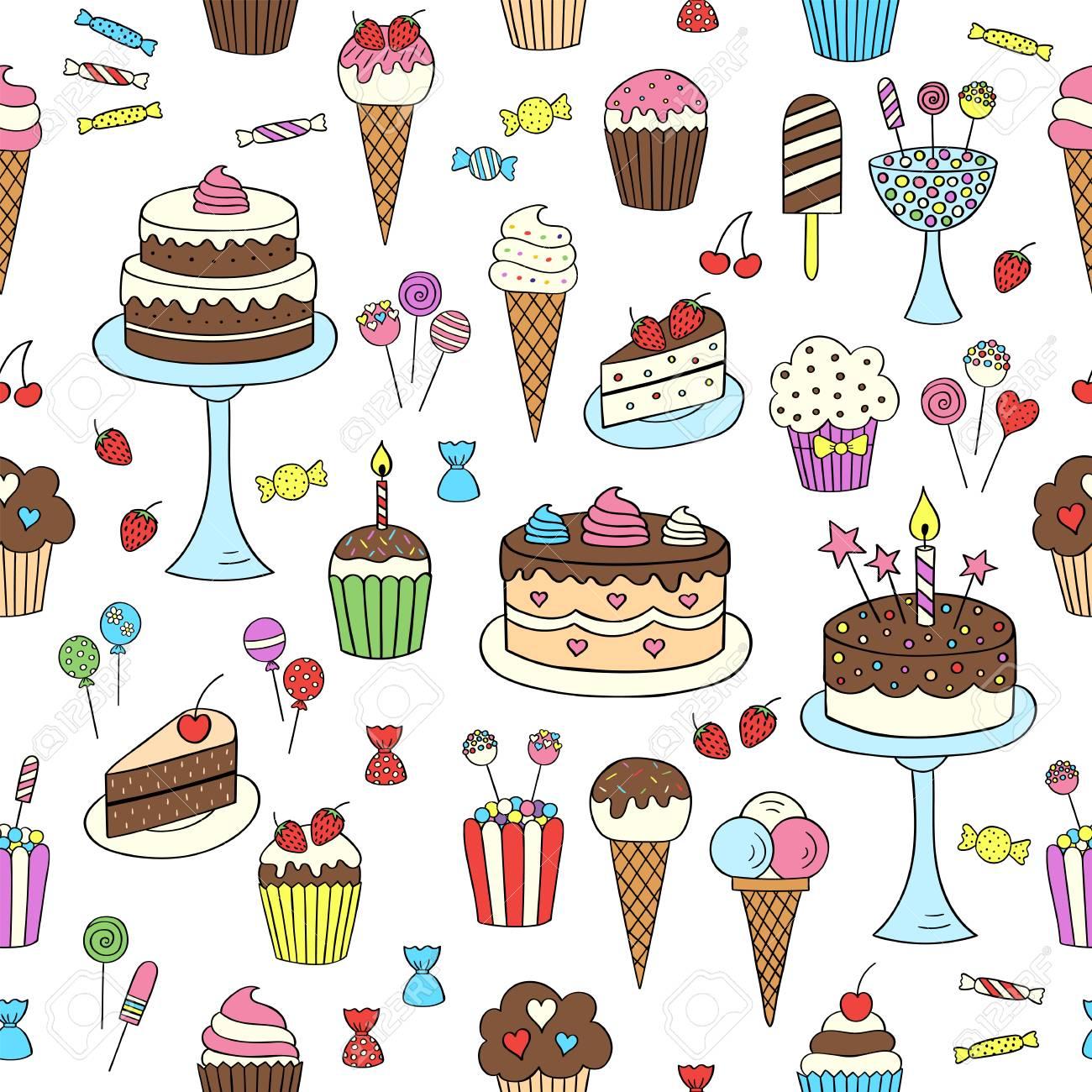 Dessin Avec La Main bonbons dessins à main dessins vecteur fond transparent. dessert  illustrations pâtisseries, gâteau d'anniversaire, petit gâteau, glaces,  bonbons,