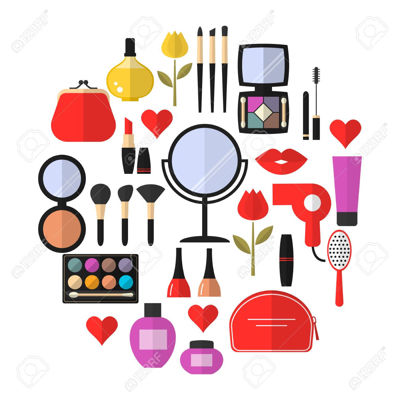 Cosmetic Makeup And Beauty Vector Flat Icons Set Cosmetic