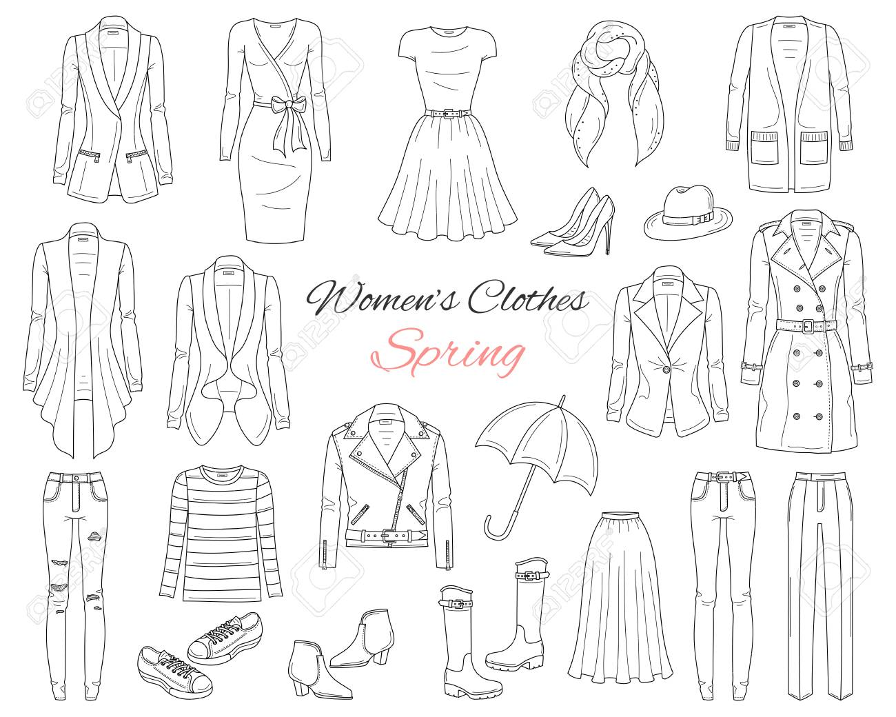 f9eca3623711 Women clothes collection. Spring outfit. Vector illustration. Stock Vector  - 104185112