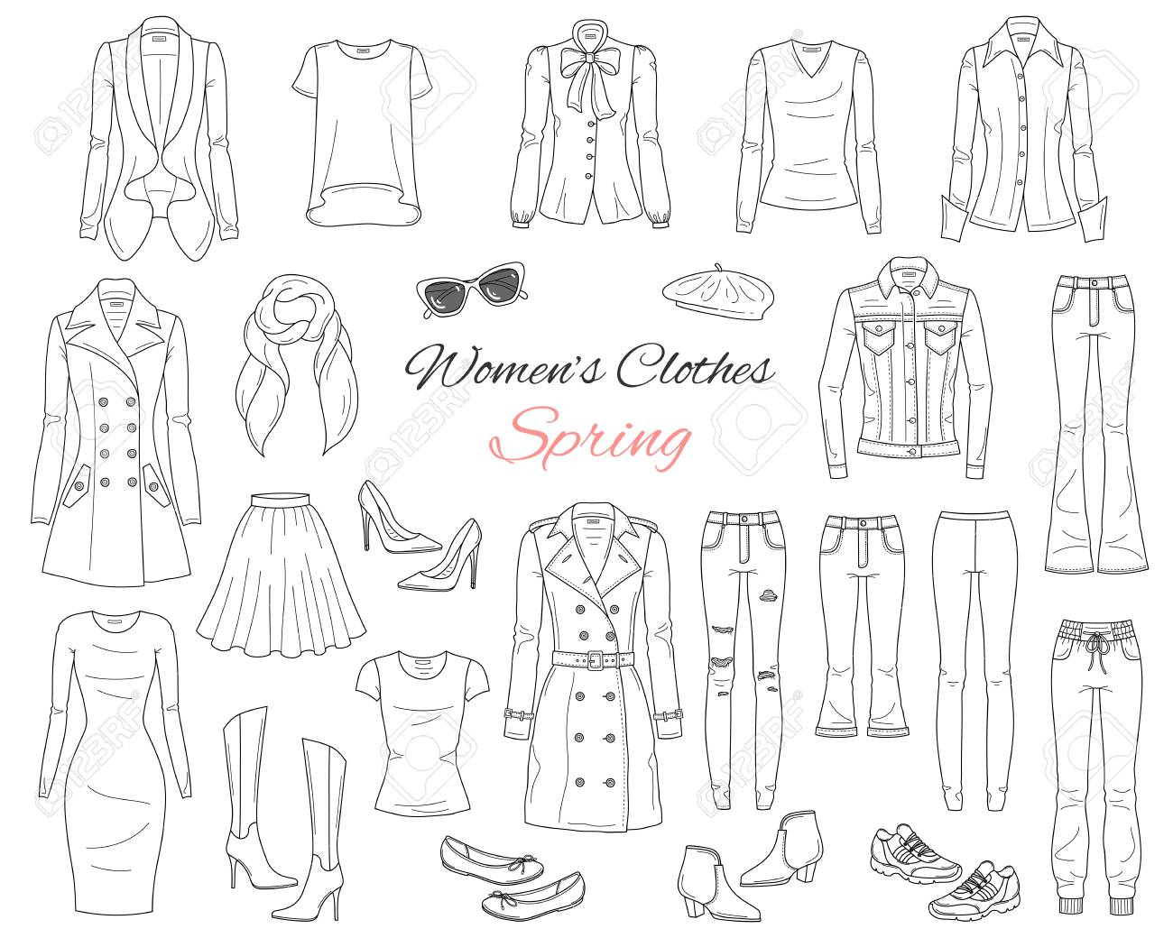 02ddc23b2a4d Women clothes collection. Spring outfit. Vector illustration. Stock Vector  - 104185114