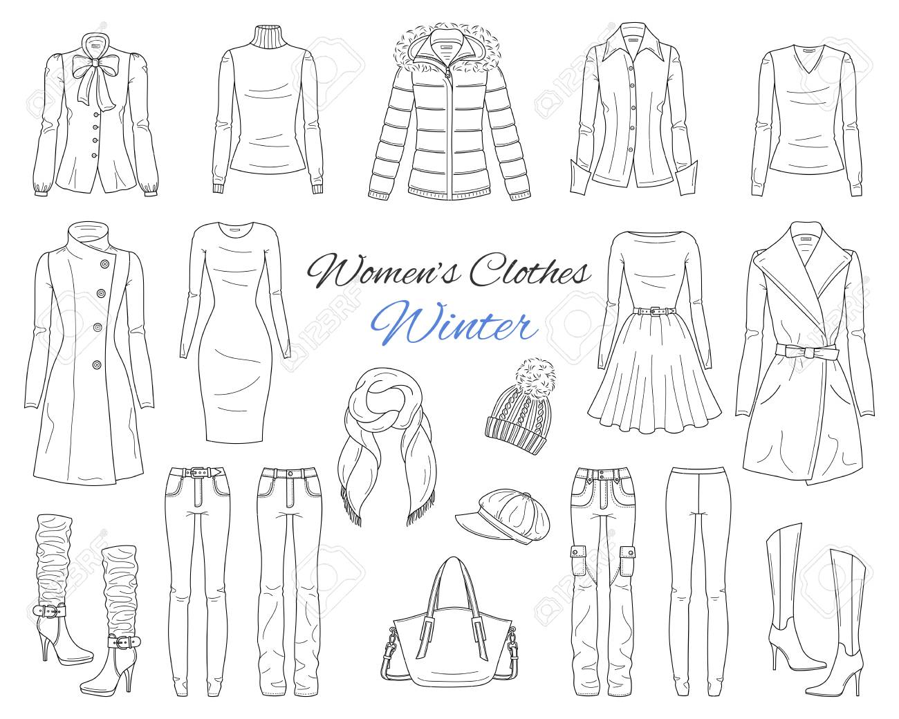 Womens clothes collection. Winter outfit. Vector sketch illustration. - 104185115