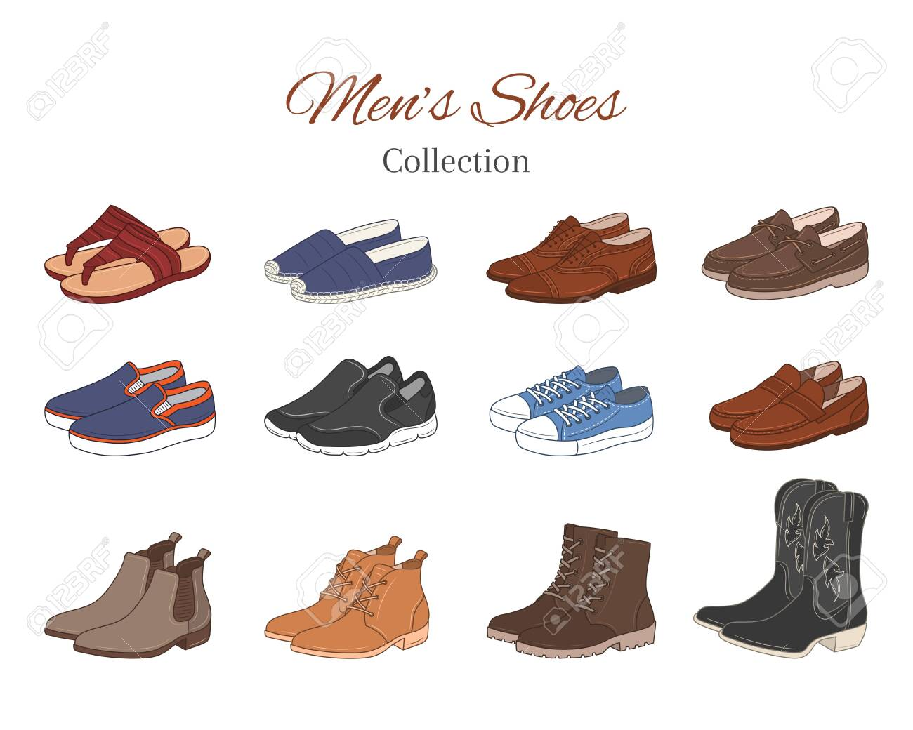 Men S Shoes Collection Various Types Of Male Shoes Casual Boots Royalty Free Cliparts Vectors And Stock Illustration Image 135213122