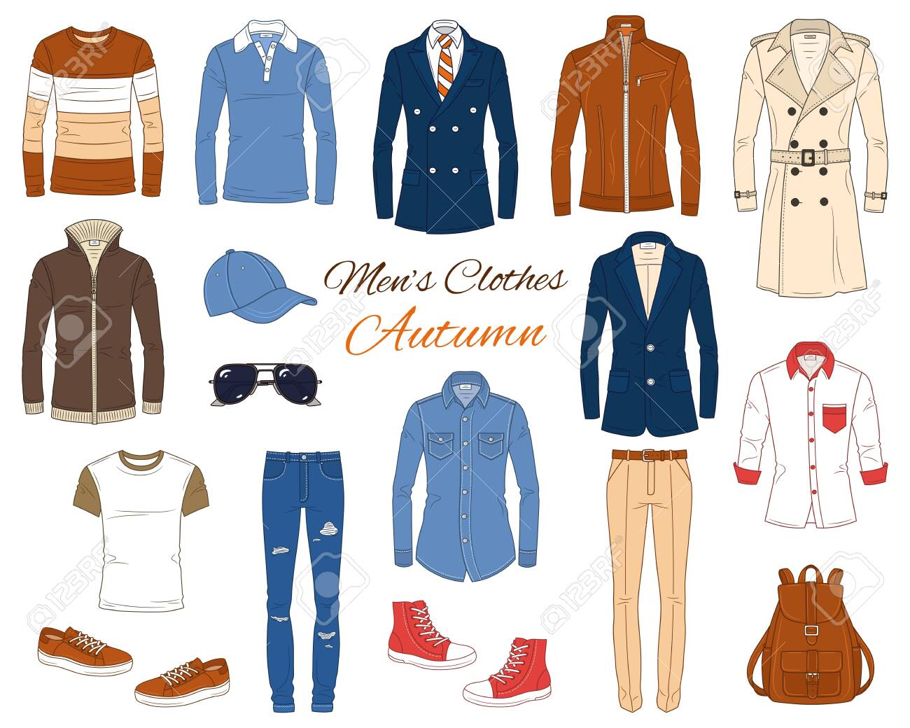 Men's Fashion set, clothes and accessories, autumn outfit: coats, leather jacket, jeans pants, shirts, sunglasses, backpack and baseball cap, vector illustration, isolated on white background. - 140286763