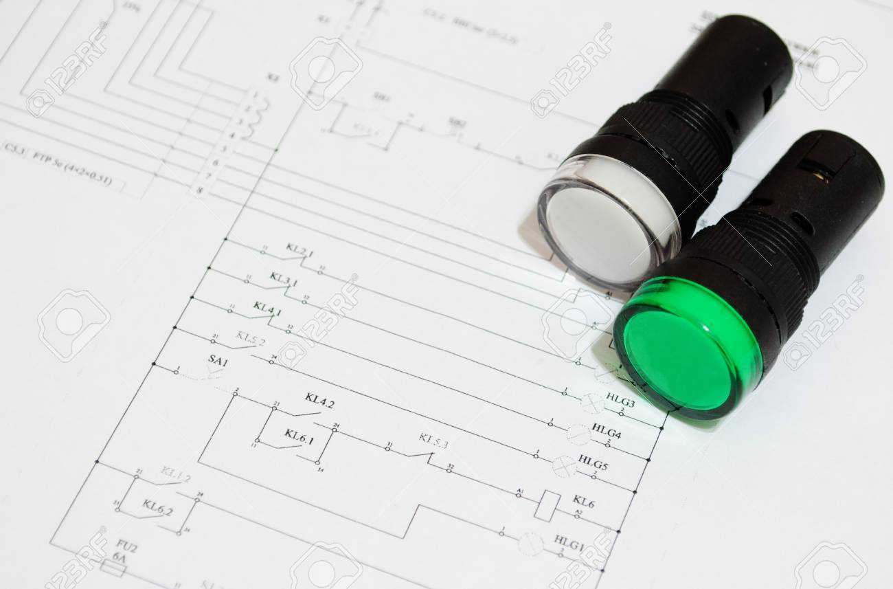 electrical fuse led indicators on the electrical wiring diagram stock photo electrical fuse led indicators on the electrical wiring diagram lighting