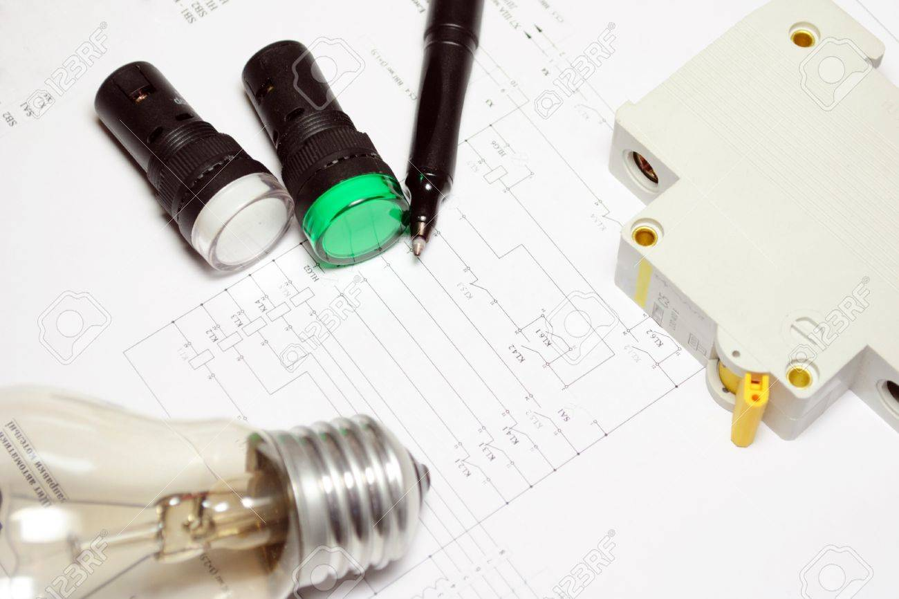 Pencil Lamp And Led Indicators Are On The Wiring Diagram Stock Light Bulb Wire Photo 12926465