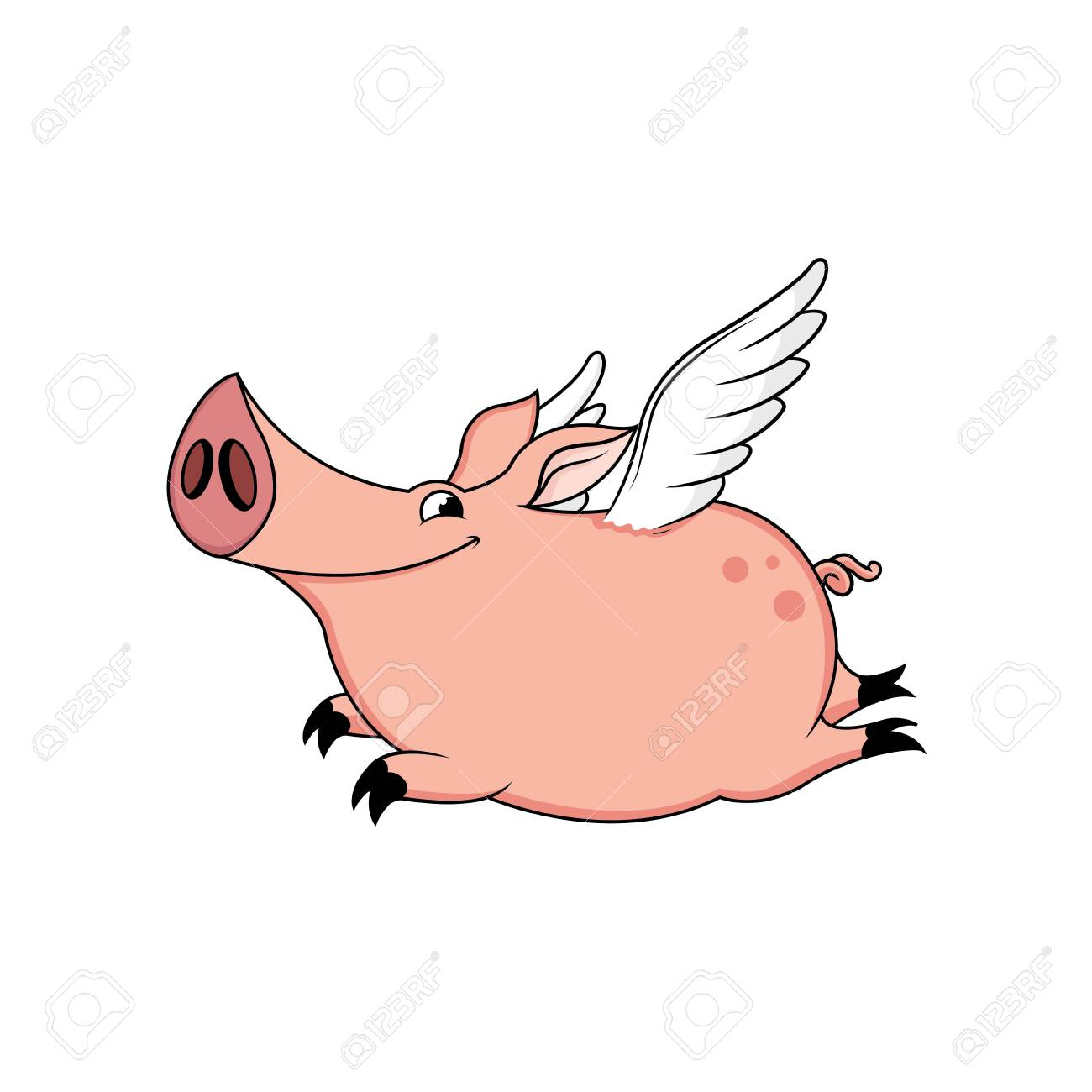 Hand draw cute pig with wings cartoon vector illustration stock vector 104764259