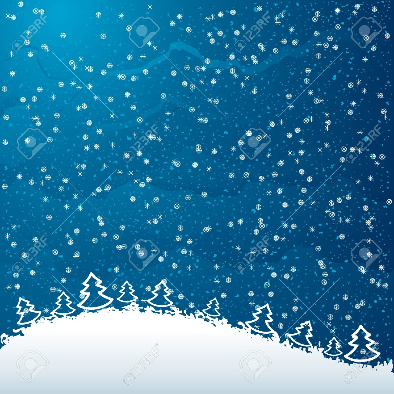 Just realistic beautiful snow on a blue background with Christmas trees Stock Vector - 16163385