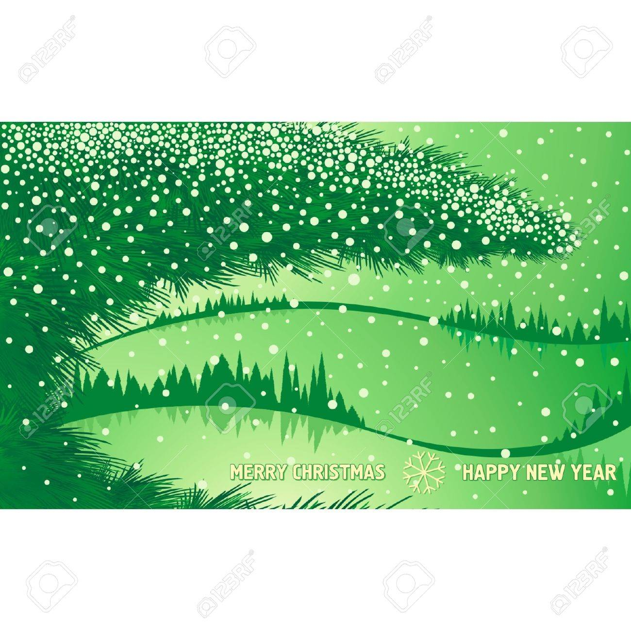 Green Christmas winter forest with tree branch and text Stock Vector - 16373883