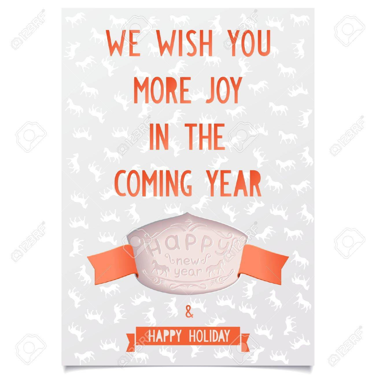 template new year greeting card with wishes of joy and happy holidays on a many horse