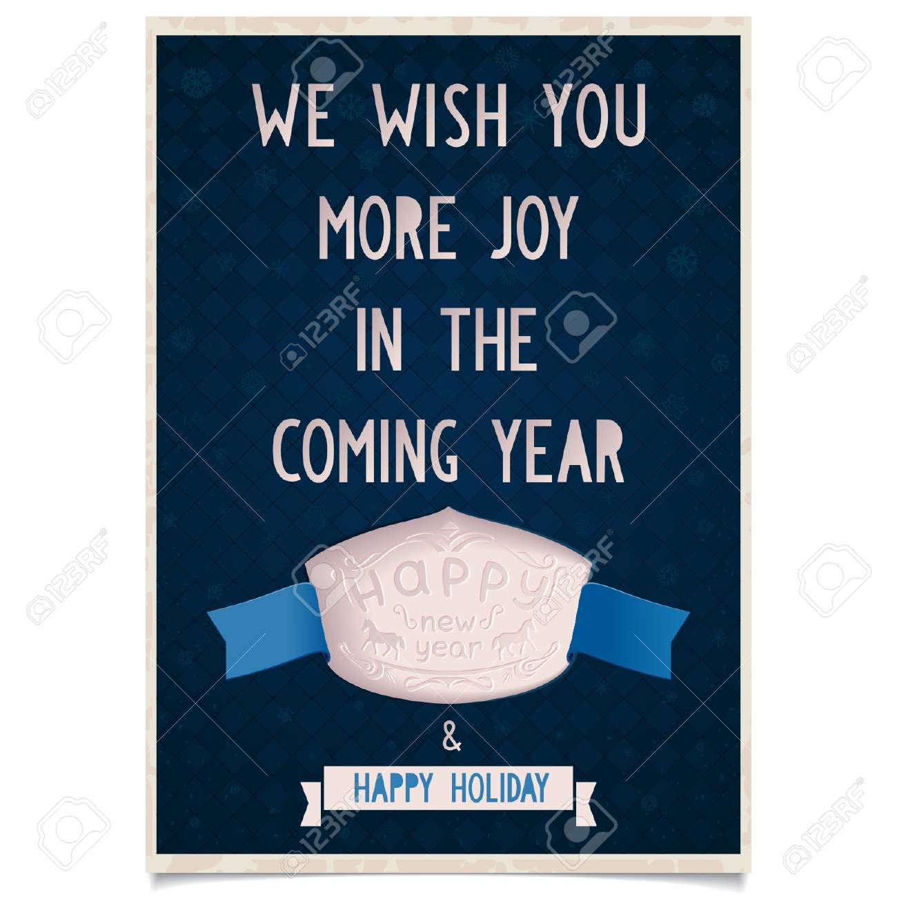 Template New Year Greeting Card With Wishes Of Joy And Happy