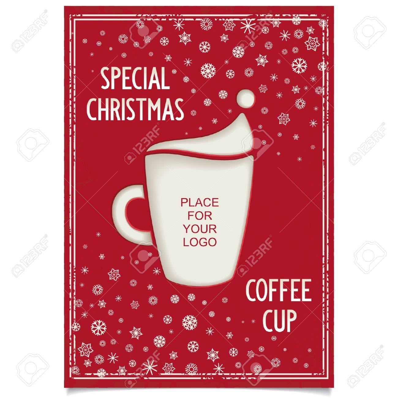 Christmas Restaurant Poster.Fun Vintage Christmas Poster Design For Restaurant And Cafe With