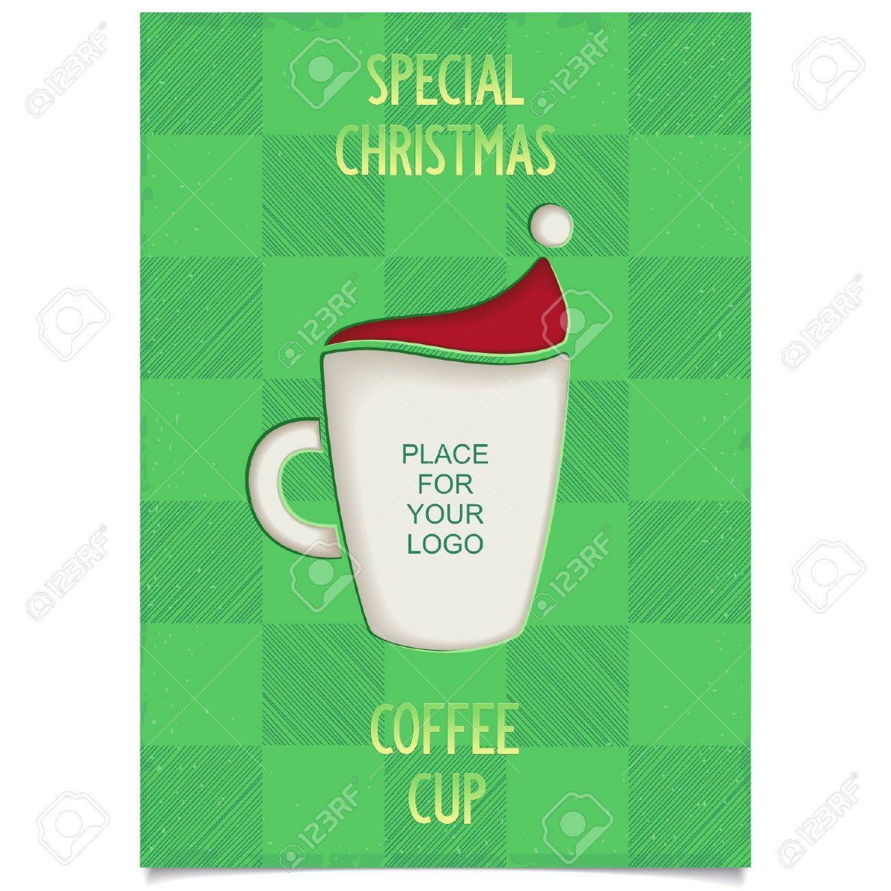 Poster design restaurant - Fun Vintage Christmas Poster Design For Restaurant And Cafe With Cup Coffee And Stylized Santa Claus