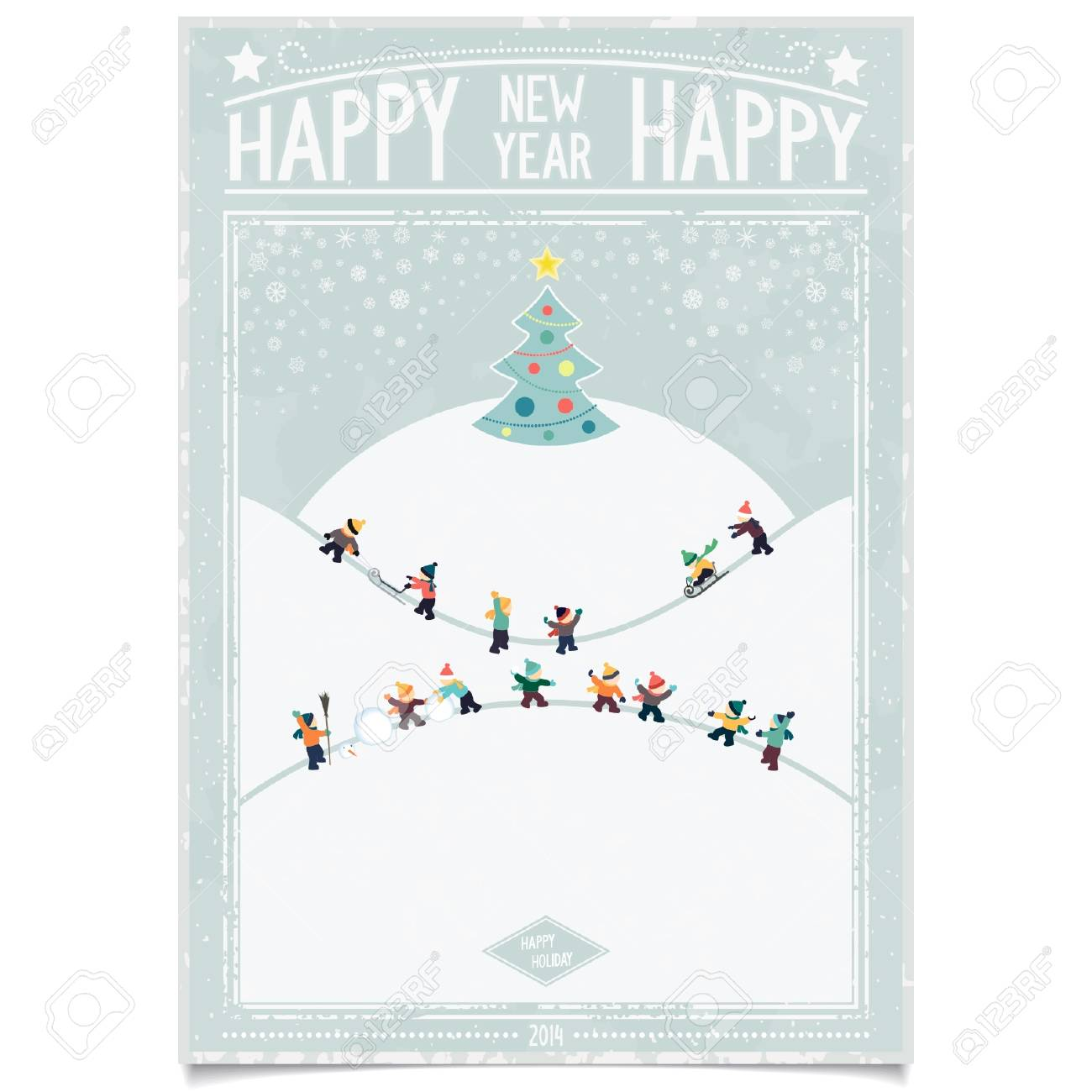 happy new year card winter landscape in retro poster style with playing kids and christmas tree