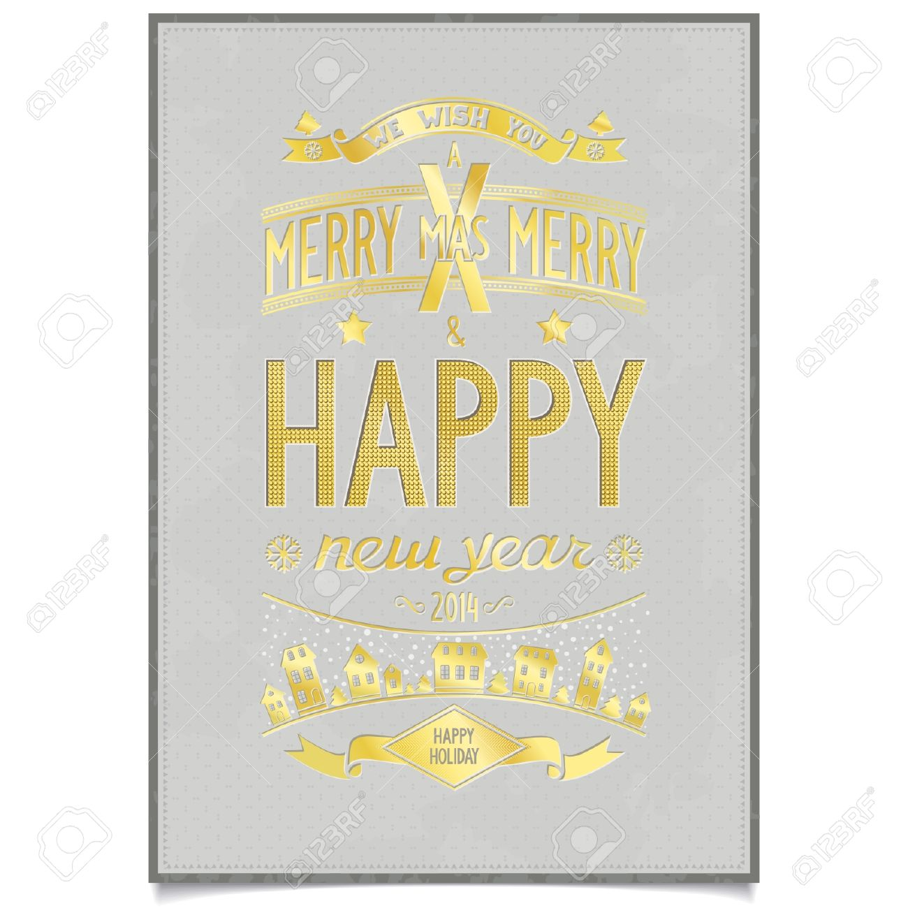 happy new year gold wishes design card in retro poster style on grunge grey background vector
