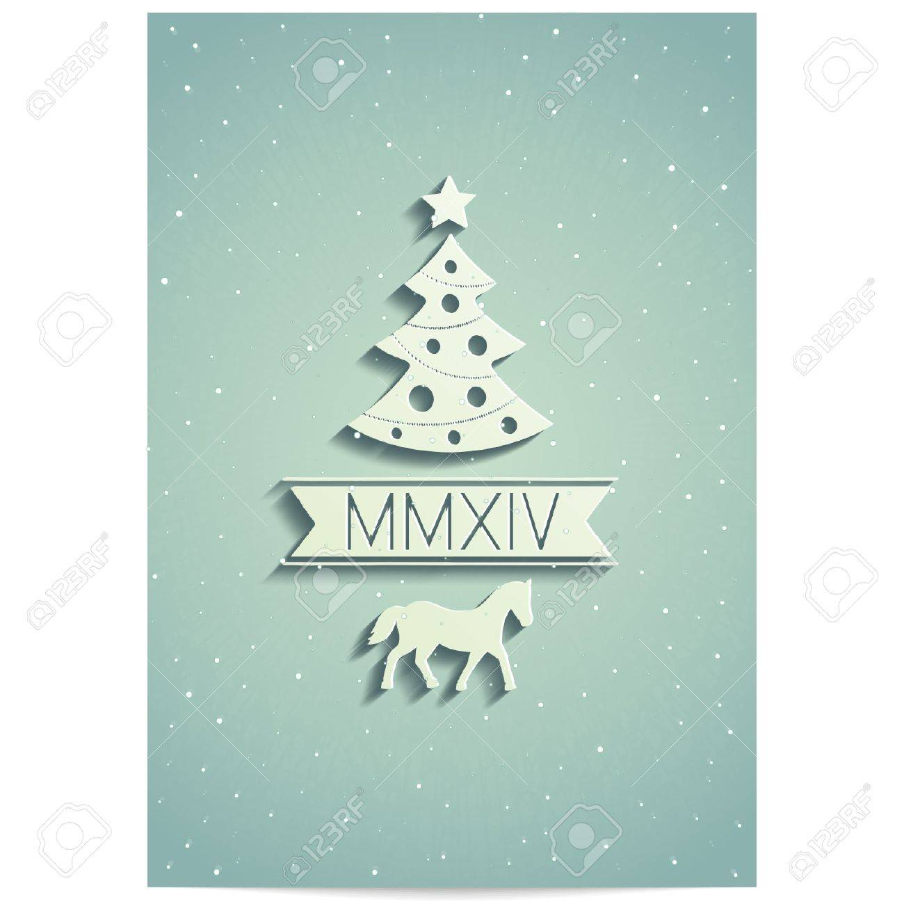 Christmas Card Design With Symbols Coming Year 2014 And And ...