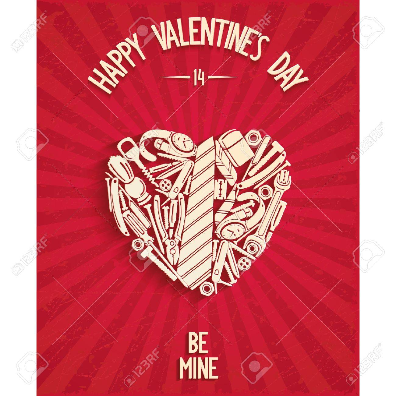 Happy valentine s day greeting card with mens accessories in happy valentine s day greeting card with mens accessories in the form of heart and 3d kristyandbryce Gallery