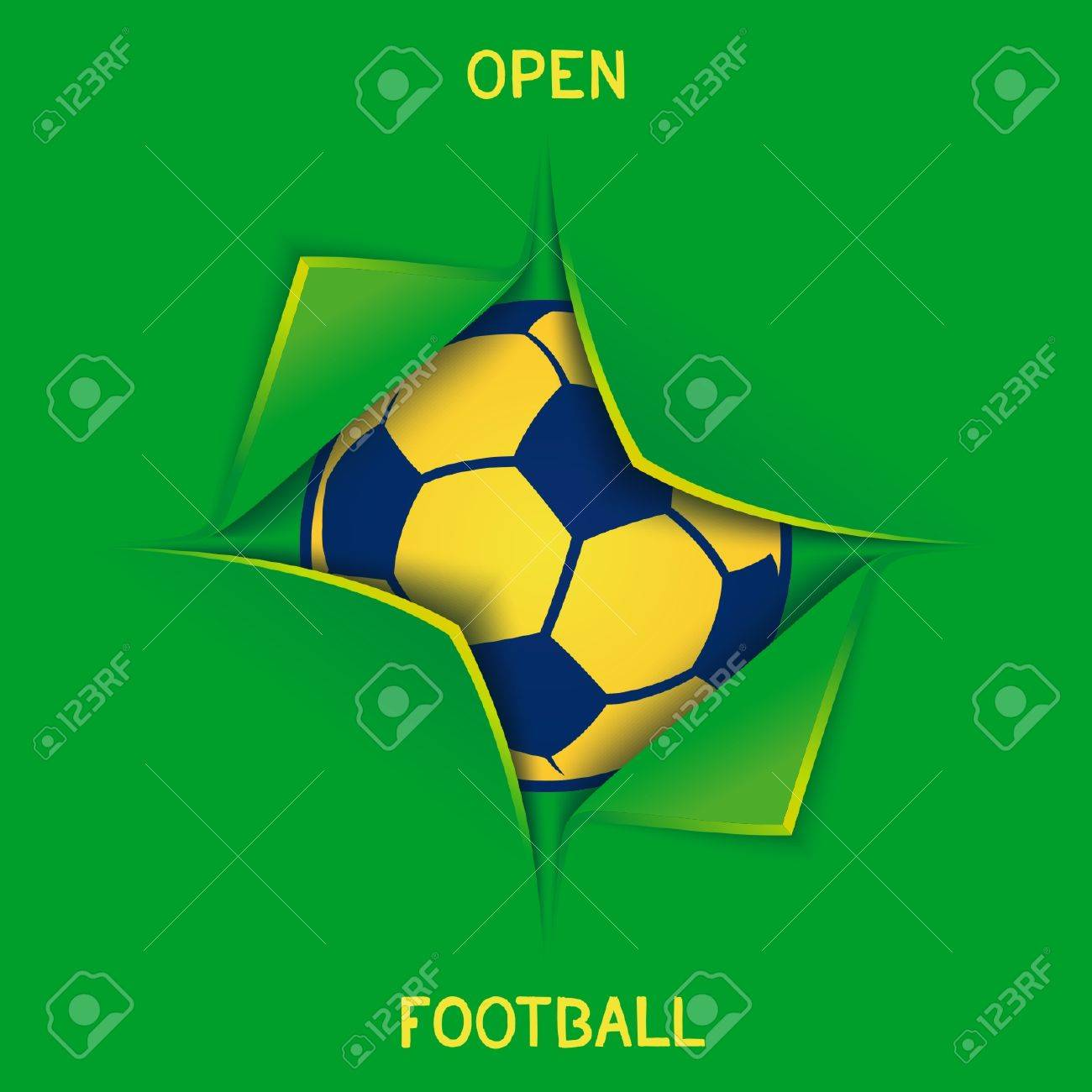 open football design 3d imitation forced open box with soccer