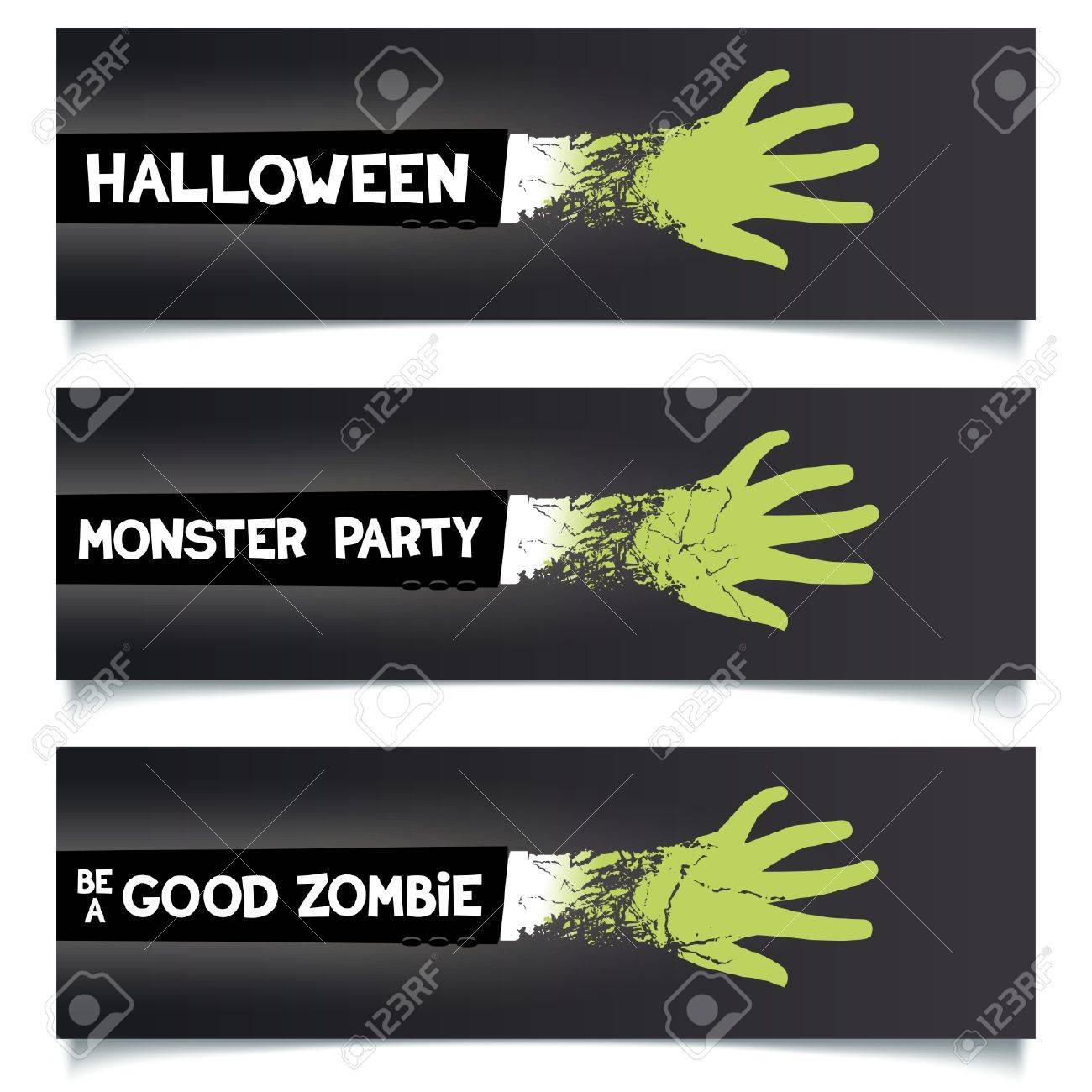 fun halloween ribbons set green hand zombie monster in a suit with slogans for web - Halloween Slogans