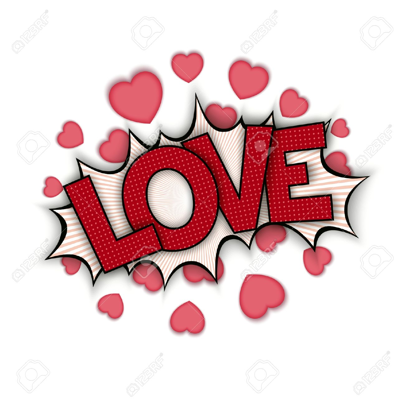 Cartoon Bang With Hearts And Word Love Pop Art S Ch Bubble Stock Vector
