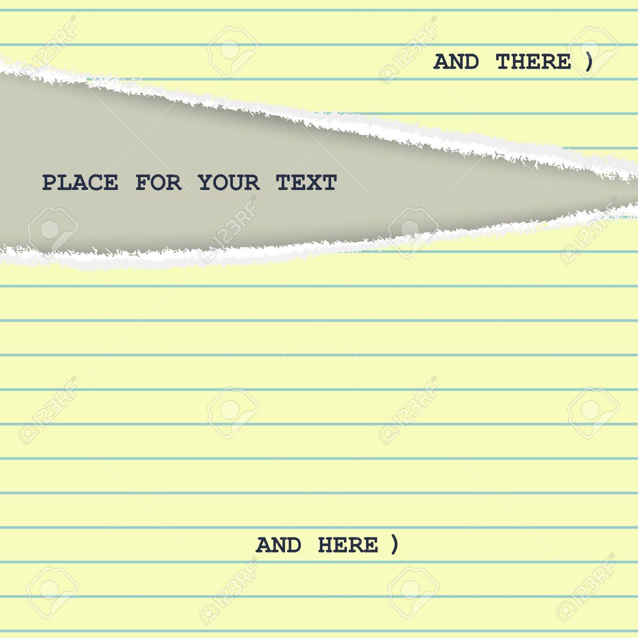 Torn Yellow Page From A Notepad With Stripes Creative Template – Notepad Template Word