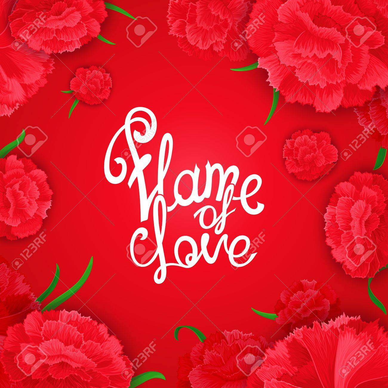 Llama De Amor Vector Cita Caligrafía Fondo Con Las Flores De Clavel Brotes Y Una Frase En El Medio