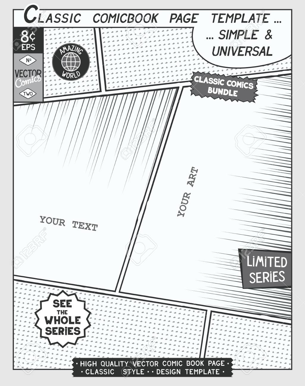 Free Space Comic Book Page Template. Comics Layout And Action ...