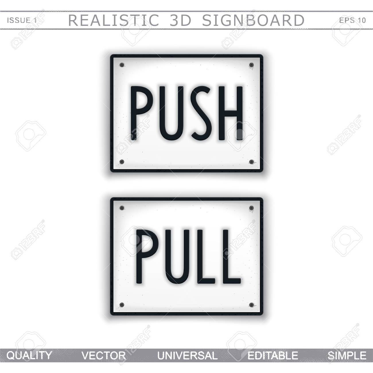 Push pull information stylized signboard top view vector design elements stock vector