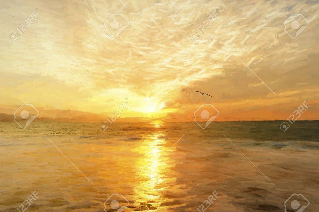 Sunset Bird è Un Dipinto Digitale Di Uccelli Che Si Staglia Contro