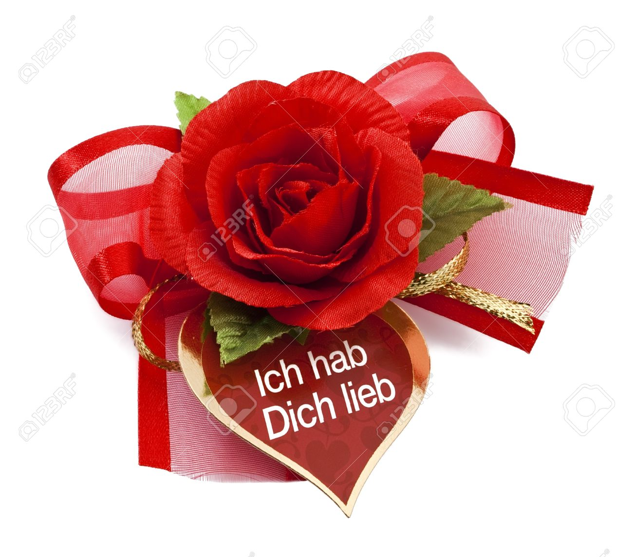 Red Rose With Card Ich Hab Dich Lieb I Love You Stock Photo