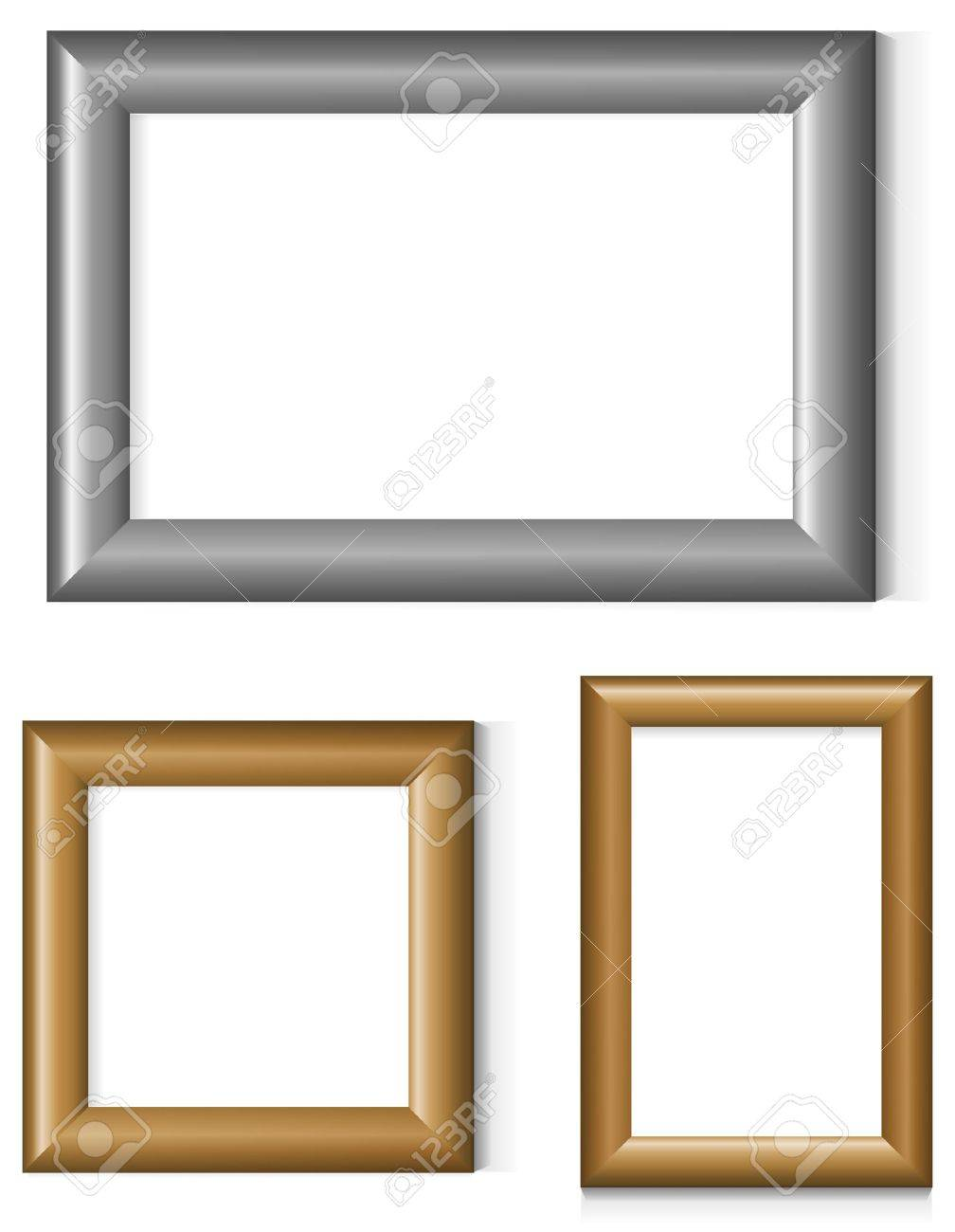 Set of silver and gold photo frames Stock Vector - 9457090
