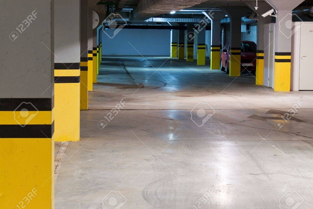 Underground parking with single car Stock Photo - 9683427