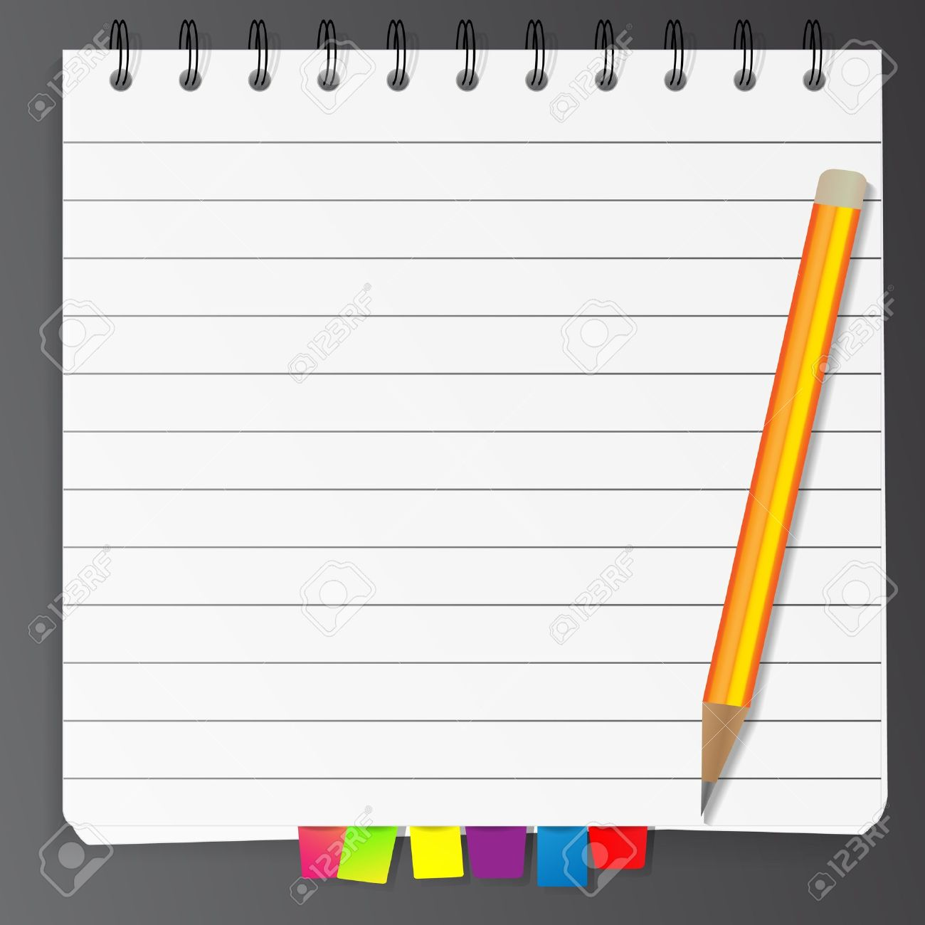 Spiral notepad list with bookmarks and pencil Stock Vector - 10860381