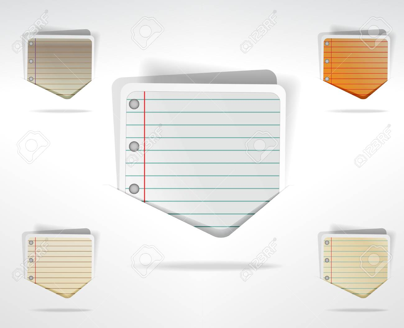 Set of speech bubbles in notepad style Stock Vector - 10859692