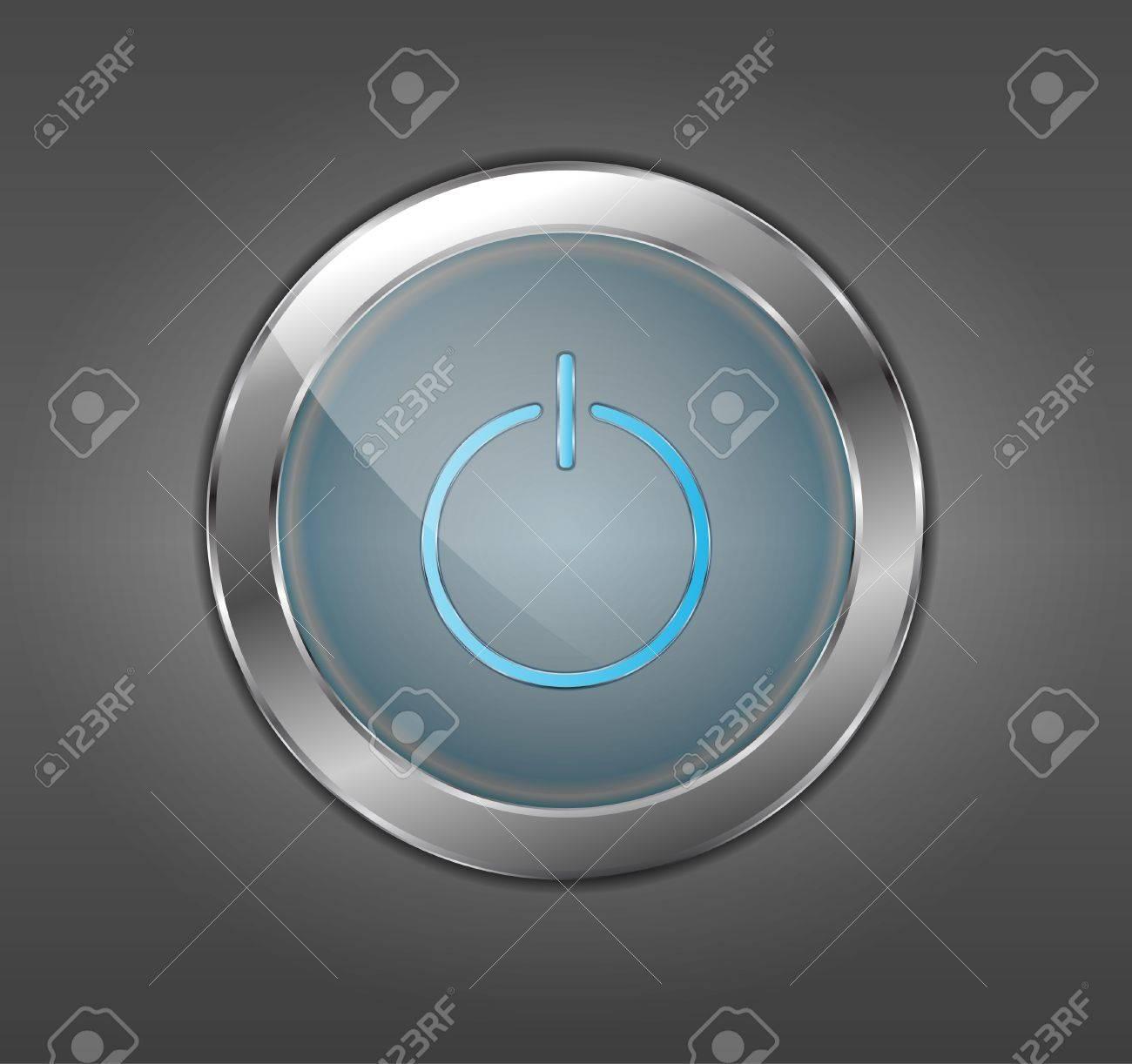 Blue power button Stock Vector - 12486387