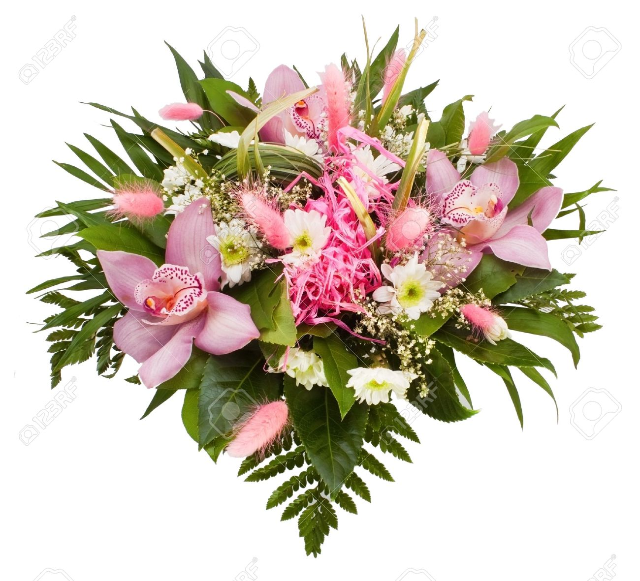 Flower Bouquet On The White Background Stock Photo, Picture And ...