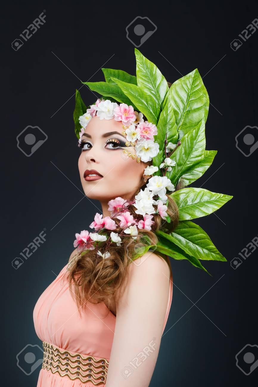 Beauty spring girl with flowers hair beautiful model woman with beauty spring girl with flowers hair beautiful model woman with flowers on her head izmirmasajfo