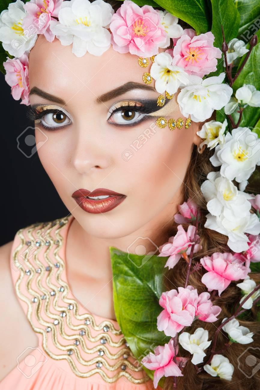 Beauty spring girl with flowers hair beautiful model woman with beauty spring girl with flowers hair beautiful model woman with flowers on her head mightylinksfo