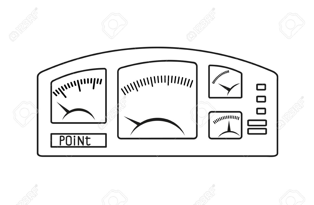 Dashboard. The Schematic Outline Image On White. Royalty Free ...