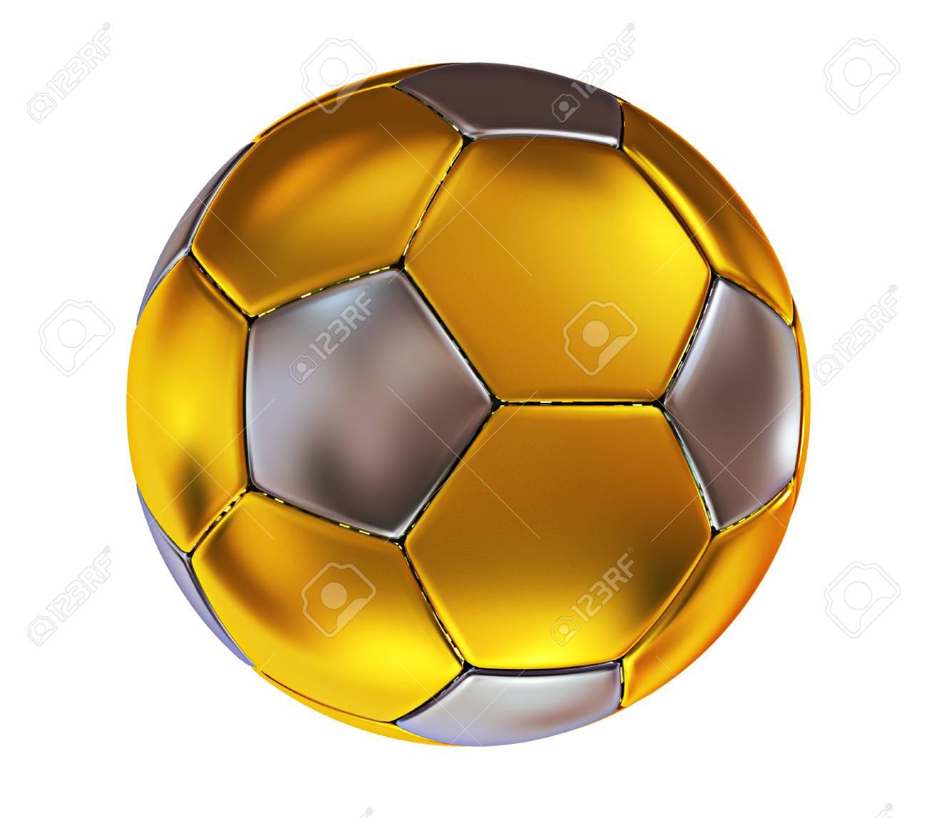 89da1fad7 3d illustration. Golden soccer ball isolated on white background. Stock  Illustration - 94501399