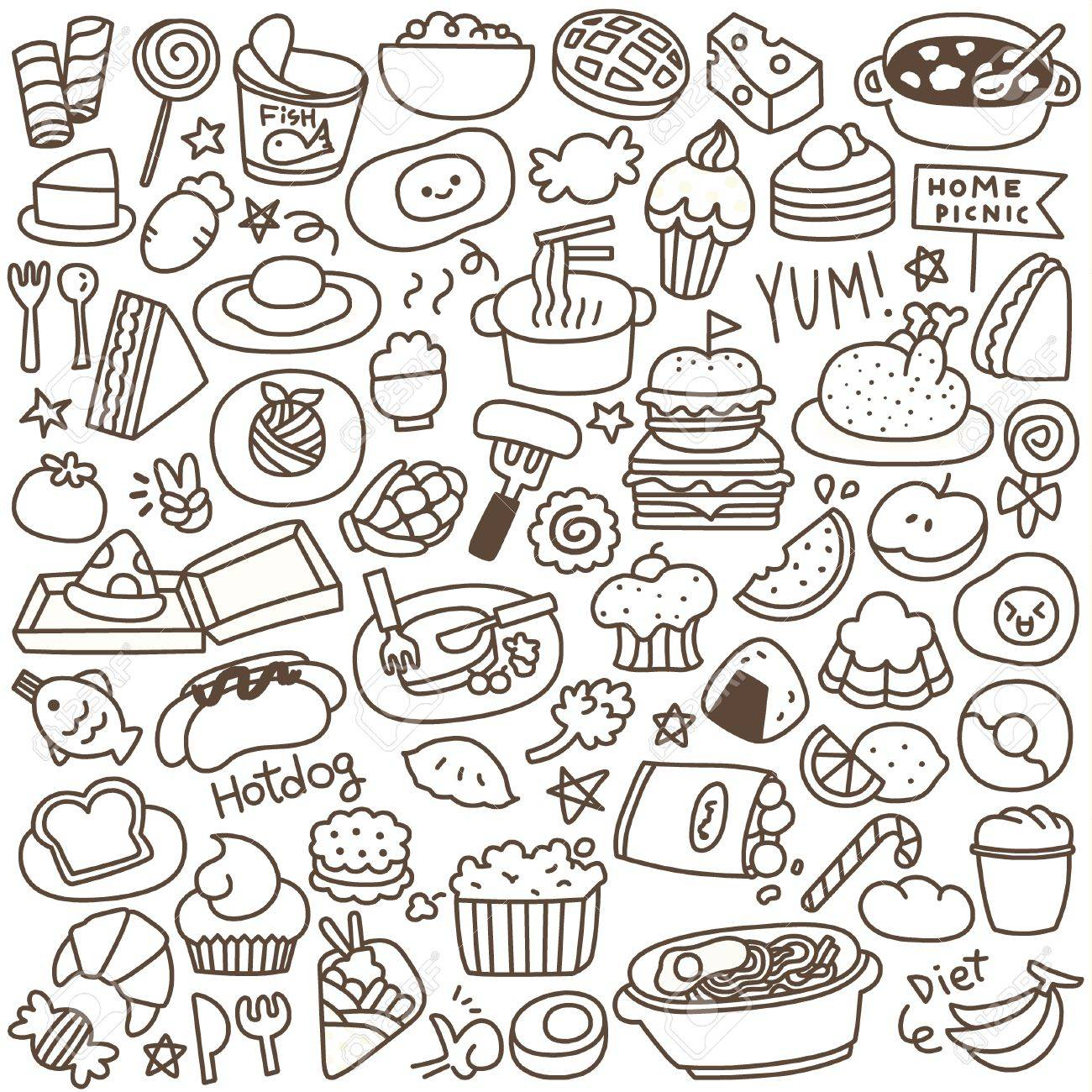 Set of cute food doodle black and white