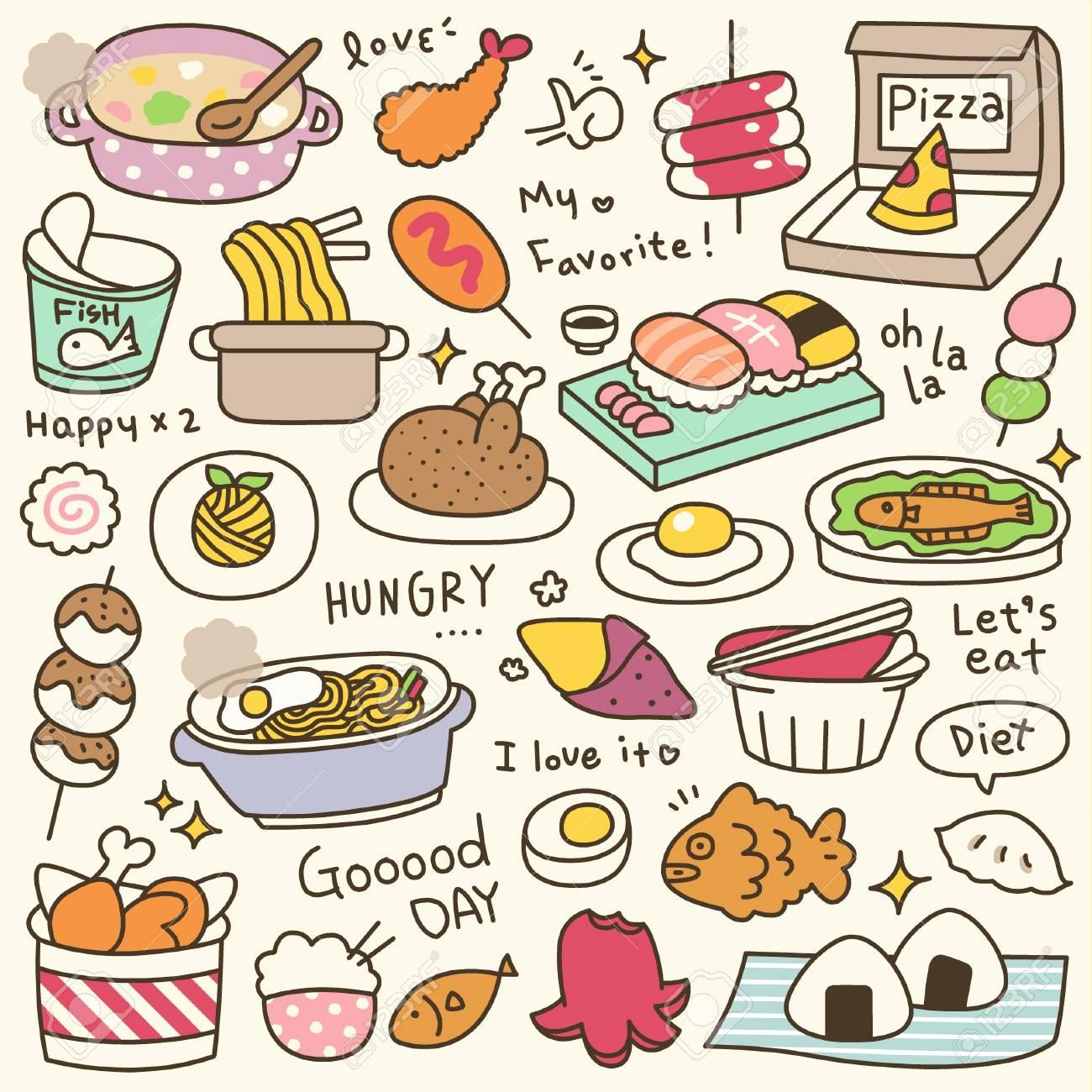 かわいい食事や料理の落書きのセットですのイラスト素材ベクタ