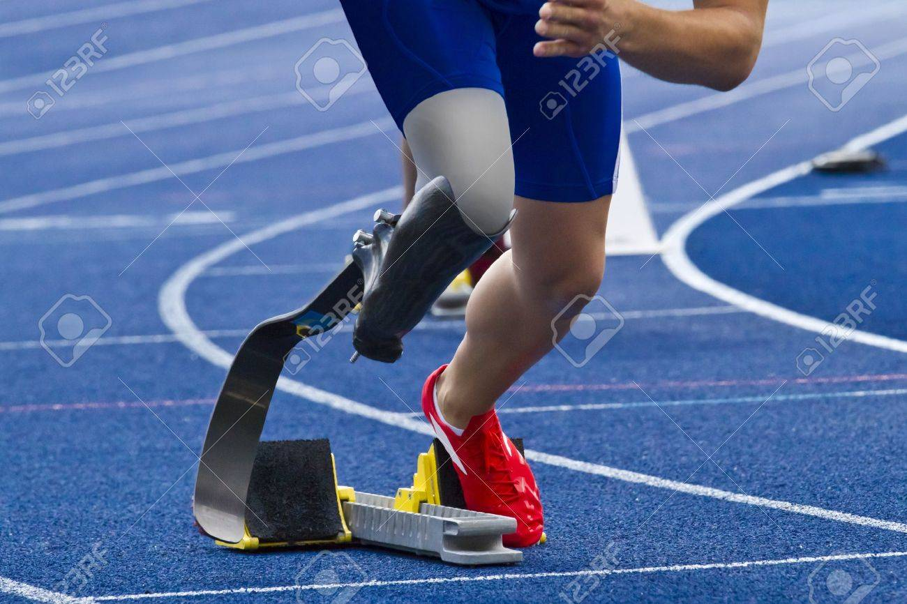 athlete with handicap starts the race - 14402839