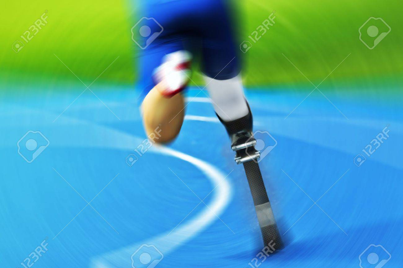 athlete with carbon prosthesis on race track - 14844776