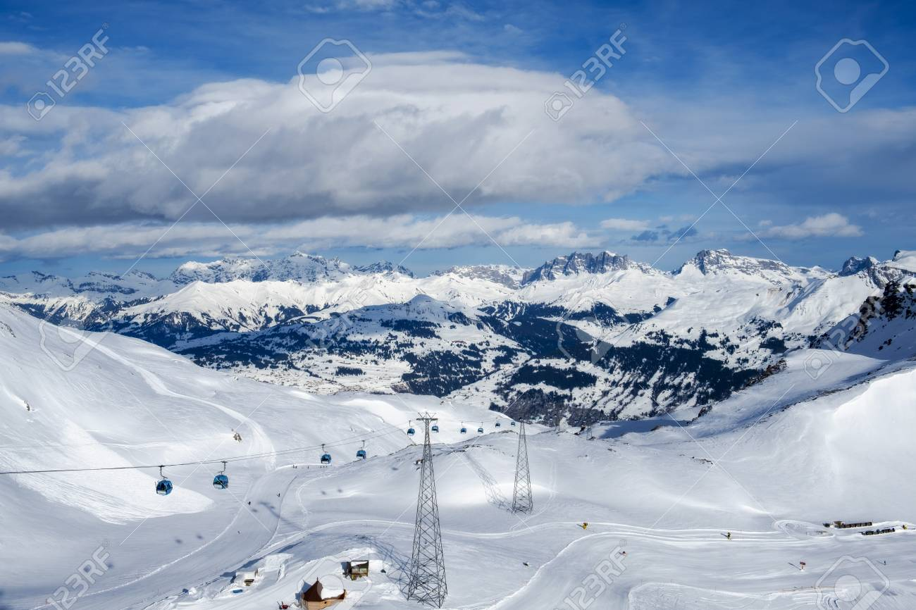 davos mountains skiing resort switzerland from above stock photo