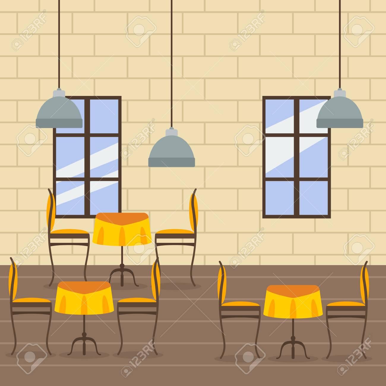Editable Restaurant Interior Vector Illustration Royalty Free ...