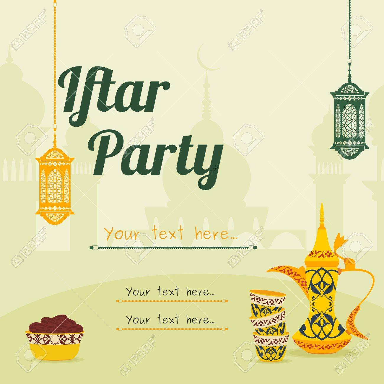 Editable Iftar Party Vector Background Concept For Poster Or